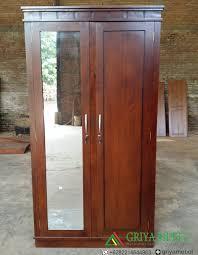 Cermin Brown almari pakaian minimalis jati 2 pintu griya mebel