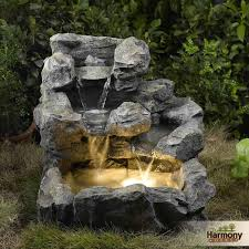 water fountain outdoor garden indoor decor lights light backyard