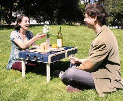 simple very small portable fold out picnic table with wooden legs