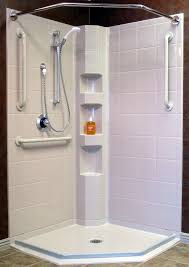 corner shower with barrier free access and water stopper pre