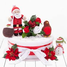 Christmas Cake Decoration Ideas Uk One Tier Christmas Nappy Cake Baby Clothing Cakes Baby