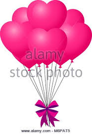 bunch balloons bunch balloons hearts flying in sky stock vector