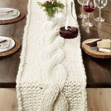 crate and barrel table runner cozy knit ivory 18 x120 table runner throw chunky wool cozy and