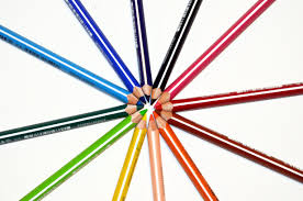 Color Painting by Orange Yellow Green Blue Red And Black Color Pencil Free Stock Photo