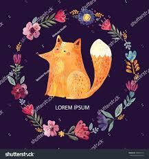 amazing design cute fox flower wreath stock vector 568645276