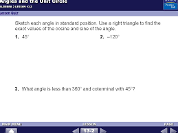 warm up 1 draw a triangle the length of the hypotenuse is 1