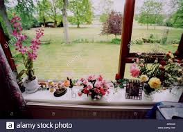 window sill ornaments view from window stock photo royalty free