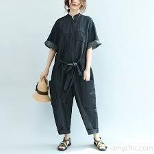 plus size denim jumpsuit 2017 blue mandarin collar linen casual jumpsuit