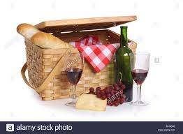 wine picnic baskets picnic basket with wine bread and cheese cutout on white