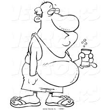beer cartoon black and white vector of a cartoon man with a beer belly and canned beverage