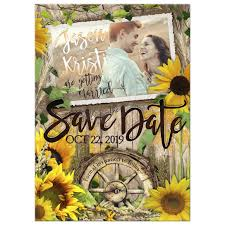 rustic sunflower love save the date photo card