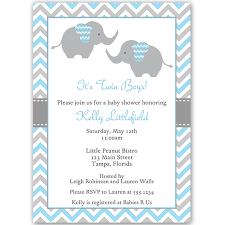 chevron elephant blue twins baby shower invitation twin boys