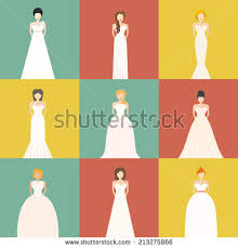 wedding dress type brides different styles wedding dresses made stock vector