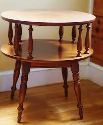 heywood wakefield inspired side table maple round two tier retro