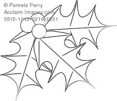 clip art image holly leaves coloring