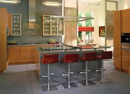 kitchen decoration using red brown leather pedestal modern kitchen