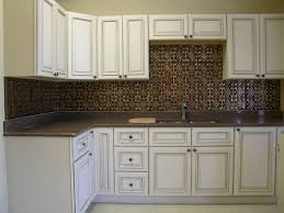 Copper Tin Backsplash And Distressed White Cabinets The - Tin ceiling backsplash