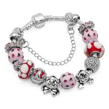 murano bracelet charms images Fashion pink murano glass beads bracelet femme cartoon animal jpg