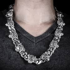 necklace silver mens images Leopard head chain 925 sterling mens silver JPG