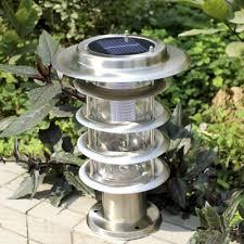 solar powered pillar lights 5 tiers chic design stainless steel light sensor solar powered led