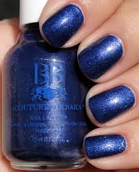 shimmery navy blue with light blue pink shimmer nail paint for girls