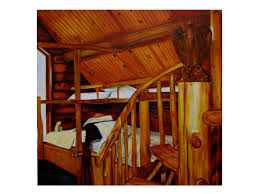 oil painting of log cabin interior true american home
