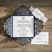 nautical wedding invitations classic nautical navy blue laser cut wedding invitations ewws095