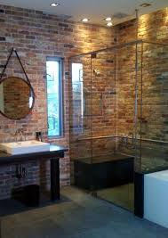 classic bathroom atmosphere with brick wall simple bathroom with