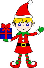 christmas elves christmas with gift free clip
