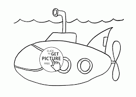 underwater transportation submarine coloring page for kids