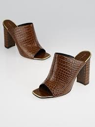 Mule Sandals Celine Brown Crocodile Stamped Leather Mule Sandals Size 9 39 5