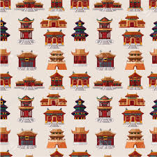 cartoon chinese house seamless pattern royalty free cliparts