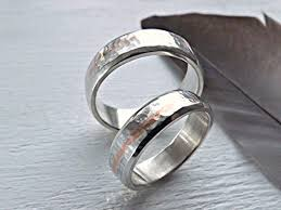 unique metal rings images Silver wedding band set hammered silver ring set two tone rings jpg