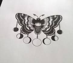 old style moth with different hanging moon phases tattoo