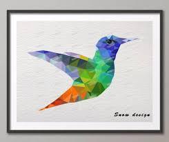 Low Poly Modern Geometric Hummingbird Canvas painting wall Art