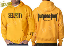 purpose tour hoodie yellow security hoodie super rare sold out