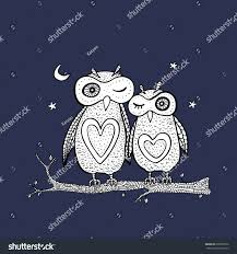 two cute decorative owls vector hand stock vector 209530012