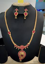 long necklace chains images Imitation ruby long chain necklace with earrings long chain jpg