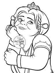 shrek coloring pages throughout picture of and fiona colouring