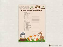baby shower word scramble woodland animal theme baby shower
