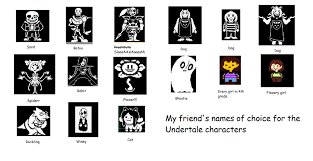 All Meme Names - my friend s names for undertale characters by livybunny14 on deviantart