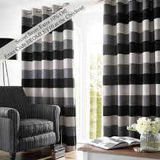 Black And Grey Curtains Bromley Stripe Lined Eyelet Curtains Slate Curtains And Blinds