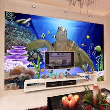 online get cheap sea turtle wall mural aliexpress com alibaba group custom wall mural 3d underwater world sea turtle non woven soundproof wallpaper living room modern