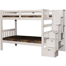 White Bunk Bed Twin Stairway Storage Wynn Beds Stairs - White bunk bed with drawers