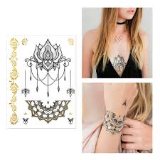 gold and black henna design pack of flash metallic tattoos gold