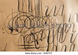 set of round thin line style alphabet letters and numbers on paper