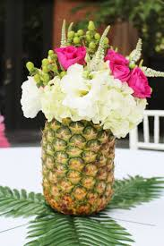 luau table centerpieces pineapple flower arrangements hawaiian party ideas luau party