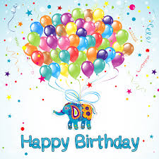 free birthday greetings belloons with elephant greeting card wishing you a hbd