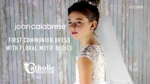 joan calabrese communion dresses joan calabrese communion dress with floral motif bodice