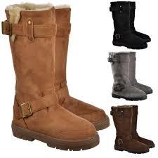 womens fur boots uk ella biker fur lined flat winter boot chestnut brown black
